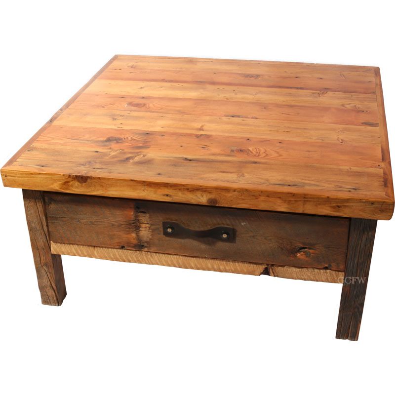 Rustic Cabin Lodge Coffee Black Mountain Drawer Square Coffee Table Rustic Square Coffee Tables (View 6 of 9)