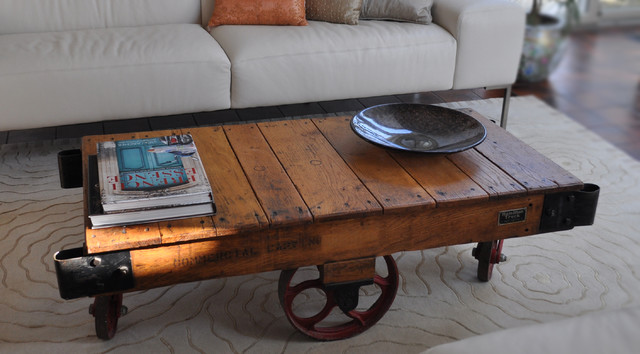 Rustic-End-Table-with-Decorative-Wheel-Rustic-Coffee-Table-On-Wheels-steel-wheel-stained (Image 9 of 10)