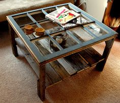 Rustic-Glass-Coffee-Table-square-shape-color-black-with-glas-of-the-top-photo-from-above (Image 9 of 10)