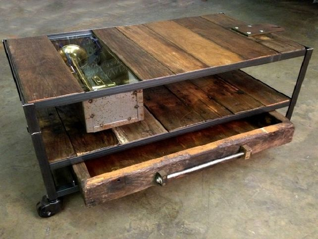 Rustic Industrial Coffee Table Custom Made Industrial Coffee Table With Rustic Wood And Metal (View 6 of 10)