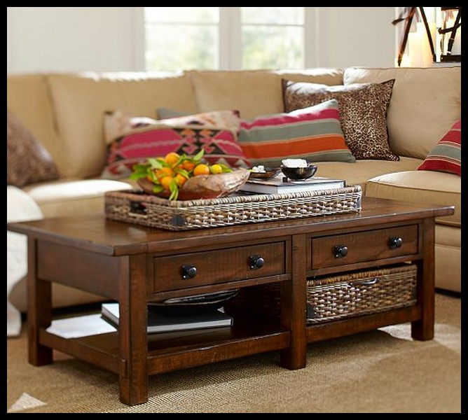 Rustic Mahogany Coffee Table With Fruit In Above For Table Square Furnish Wood (Image 6 of 9)