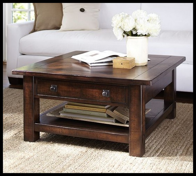 Rustic Mahogany Coffee Table With White Rose Flower At Above (Image 7 of 9)