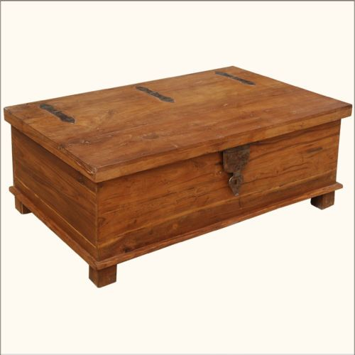 Rustic Teak Wood Wrought Iron Distressed Coffee Table Storage Box Chest Trunk Rustic Teak Coffee Table (View 6 of 10)