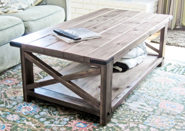 Rustic X Coffee Table Rustic Coffee Table Plans Dark Brown Gre Wood Furnish Square Shape Table (Image 9 of 10)