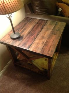 Rustic X End Table With Lamp My Husband Made These Rustic End Tables From A Plan Off (View 8 of 8)
