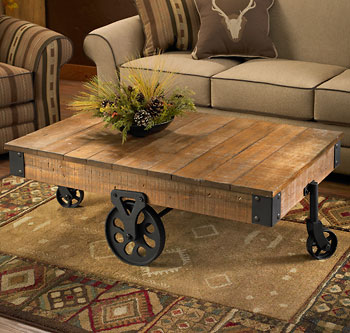 Rustic Cart Coffee Table Unique Furniture Unique Rustic Coffee Tables On Living Room With Mayan Rug Accent (Image 3 of 8)