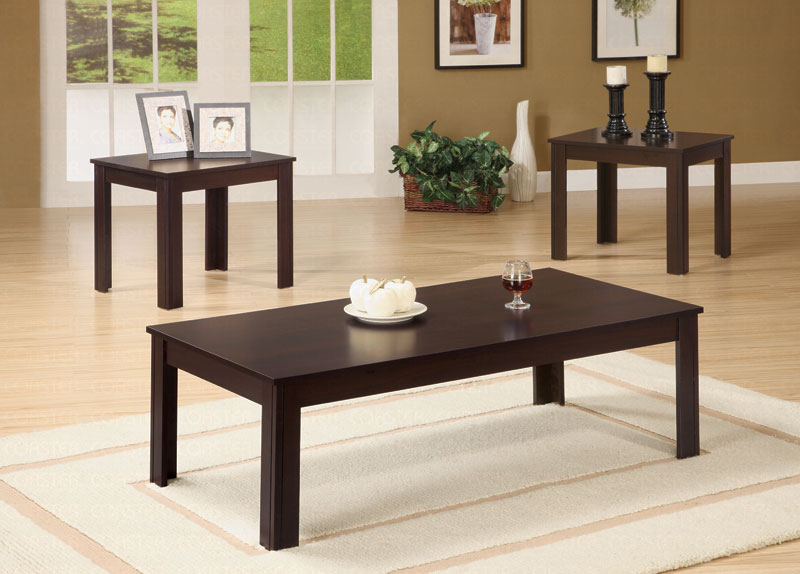 Sale 3Pcs Coffee Set Coffee Table And 2 End Tables In Cappuccino Finish (View 9 of 10)