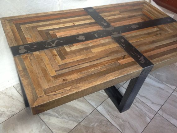 Salvaged Butcher Block Coffee Table Industrial Rustic Rustic Industrial Coffee Table (View 10 of 10)