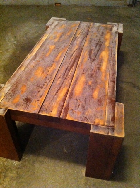 Sanded Coffee Table On The Way To Be Refinished Rustic Coffee Table Plans (Photo 10 of 10)