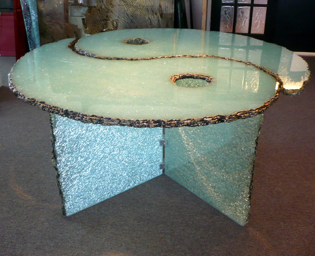 Shattered Glass Coffee Table Yin Yang Custom Shape Ensures That This Piece Will Make A Statement Handmade Contemporary Furniture (Image 10 of 10)