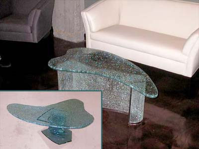 Shattered Glass Coffee Table Suspends A Woven Cat Hammock Below So You Tables Elegant With Pictures Of Walmart Tables Interior In (Image 7 of 10)