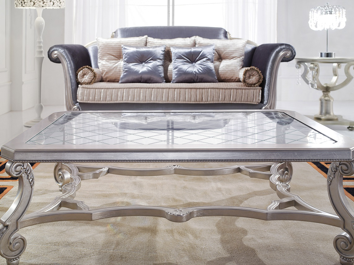 10 photos silver and glass coffee table