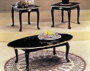 Small Coffee Table Sets 3 Piece Black Finish Coffee Table End Table Set With Gold Trim (Image 6 of 10)
