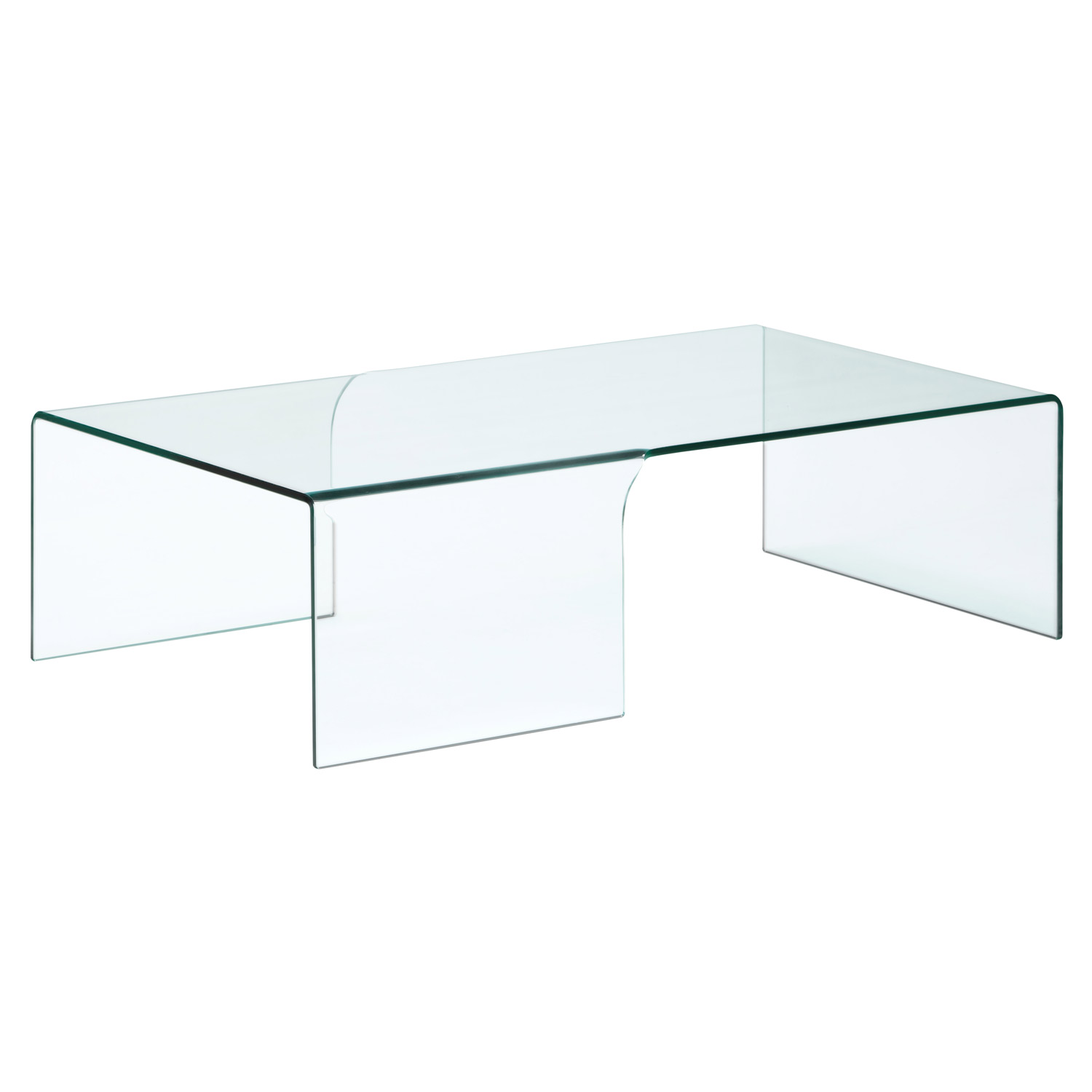 Solid Glass Coffee Table Also Glass Material Increases The Space Of All Rooms (View 3 of 9)