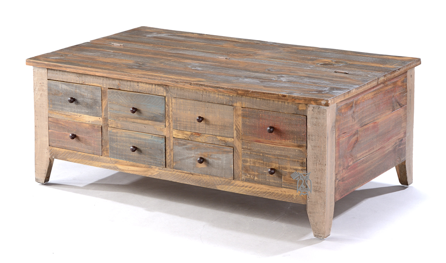 Solid Pine Wood Rustic Eight Drawer Coffee Table With Lift Top Storage With 8 Storage (View 10 of 10)