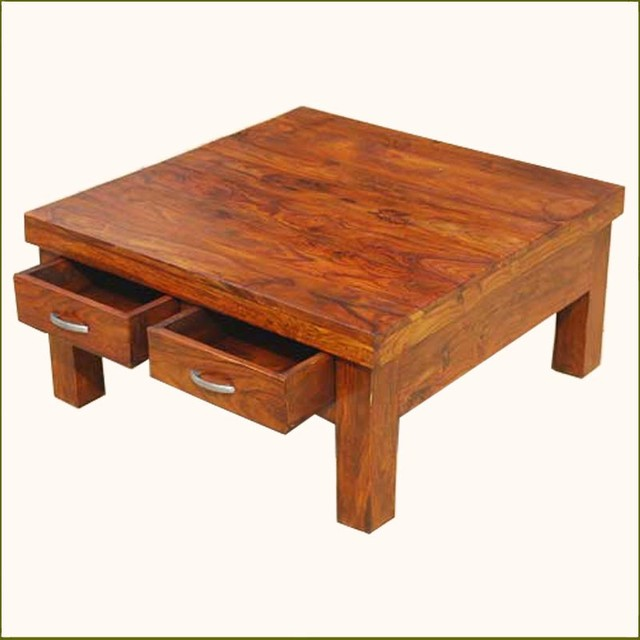 Solid Wood Rustic 4 Drawers Square Storage Coffee Table Contemporary Coffee Tables Contemporary Coffee Tables (Photo 8 of 9)