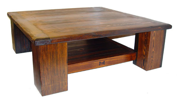 Southwest Coffee Table Rustic Lodge Log And Timber Furniture Square Shape Table Wood Dark Brown Furnish Cool (View 8 of 9)