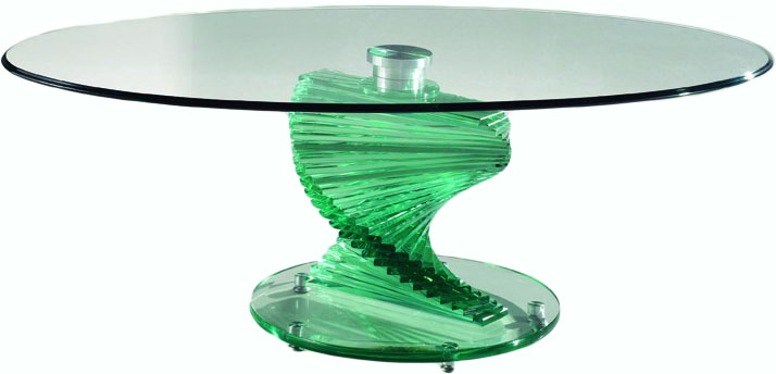 Popular Photo of Spiral Glass Coffee Table