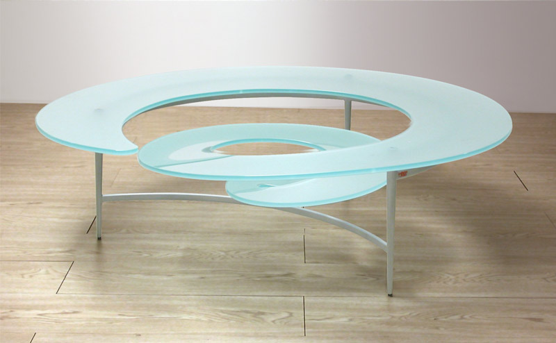 Spiral Glass Coffee Table The Top Features A Grid That Can Also Come With Glass Stone Or Wood (View 8 of 10)
