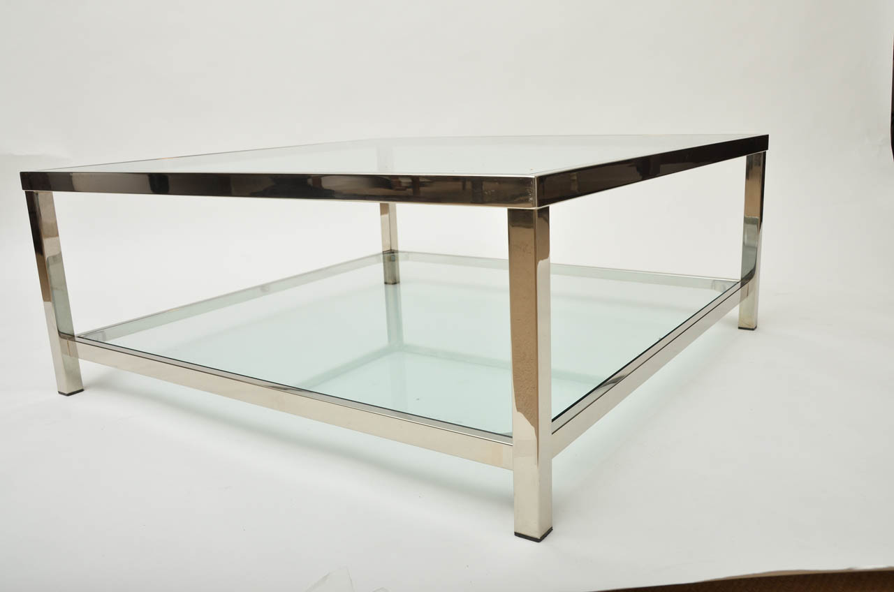 Square Coffee Table Modern Modern Clear Bent Glass Rectangular Coffee Table Strada Modern (Image 8 of 10)