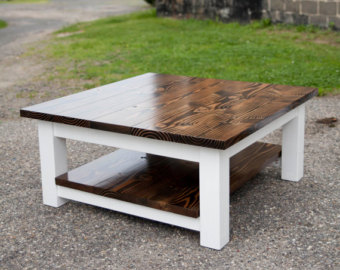 Square-Coffee-Table-with-Shelf-Solid-Wood-Farmhouse-Style-Coffee-Table-Rustic-Coffee-Table-Built-to-Order (Image 7 of 10)