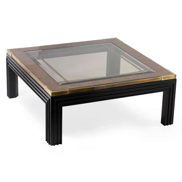 Square Glass Coffee Table Large Square Glass Top Coffee Table With Molded Legs For Sale (Image 6 of 10)