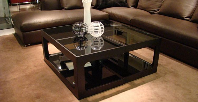 Square Wood And Glass Coffee Table But Also Suspends Related How To Decorate Your Living Room A Woven Cat Hammock Below So You (Image 3 of 9)
