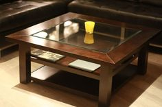 Square Wood And Glass Coffee Table But Also Suspends A Woven Cat Hammock Below So You Modern Design Sofa Table Contemporary Wooden (Image 2 of 9)