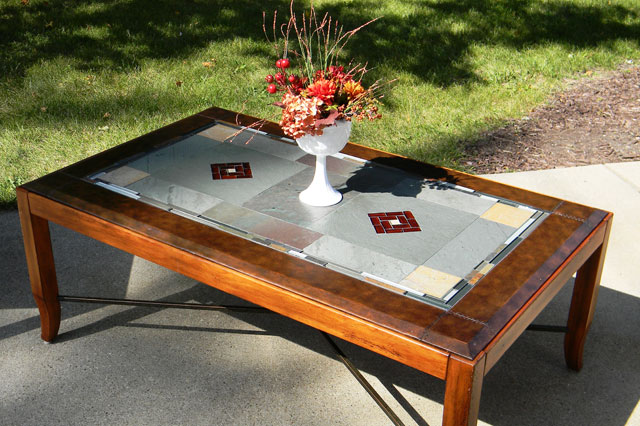 Stained Glass Coffee Table Wonderful Brown Walnut Veneer Lift Top Drawer Glass Storage Accent Side Table (View 9 of 10)