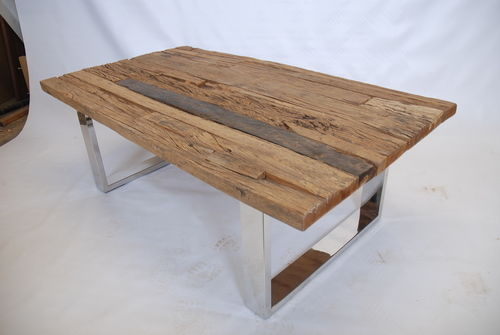 Stainless Legs Rustic Teak Coffee Table Rustic Teak Coffee Table Squate Shape Wood With Furnish Finishing (View 8 of 10)