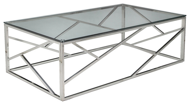 Stainless Steel And Glass Coffee Table Pastel Firoozeh Rectangular Glass Coffee Table In Stainless Steel Traditional (View 5 of 10)
