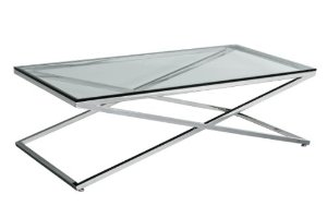 Stainless-Steel-and-Glass-Coffee-Table-Premier-Housewares-Coffee-Table-with-Stainless-Steel-Frame-and-Clear-Tempered-Glass (Image 6 of 10)