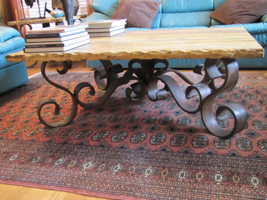 Travertine-Coffee-Table-with-Iron-Base-Rustic-Iron-Coffee-Table-steel-legs (Image 10 of 10)