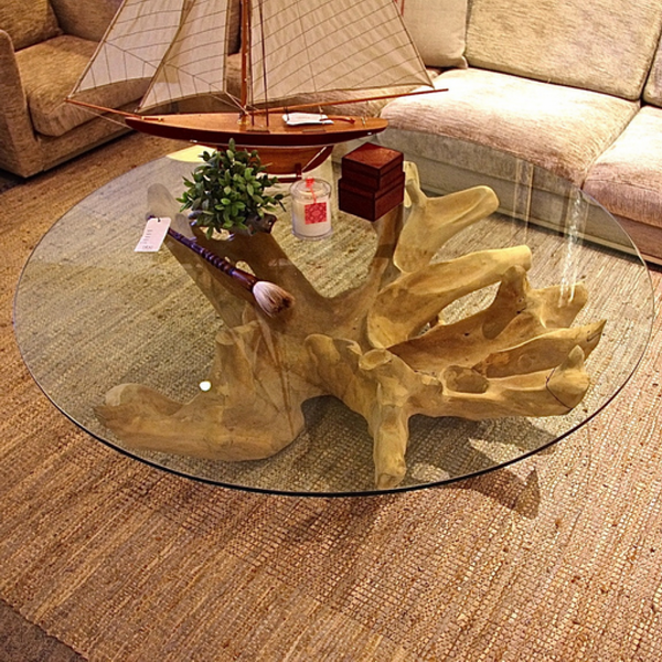 10 best collection of tree trunk coffee table glass top Tree trunk coffee table glass top