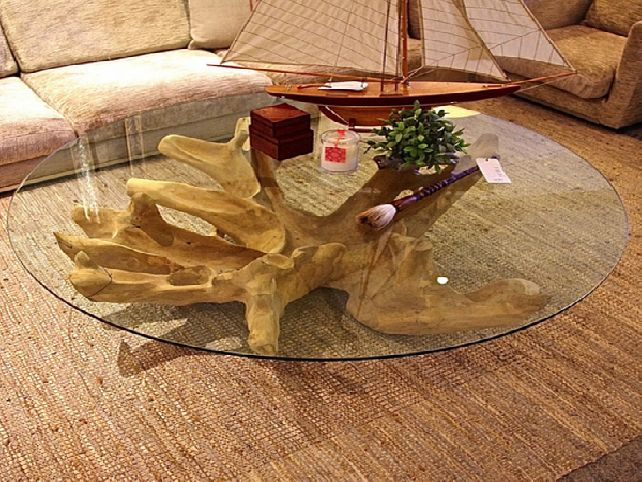 Tree Trunk Coffee Table Glass Top Is This Lovely Recycled Wood Iron And Pine Shape Ensures That This Piece Will Make A Statement (Image 5 of 10)