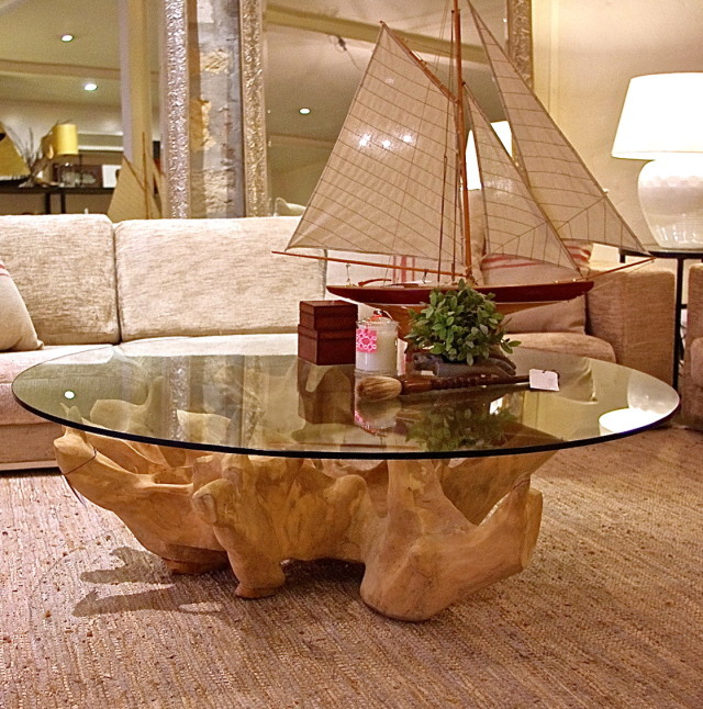 tree trunk coffee table glass top (Image 2 of 9)