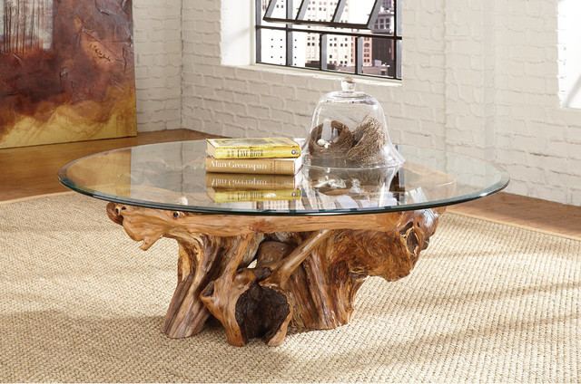 Tree-Trunk-Coffee-Table-With-Glass-Top-but-also-suspends-a-woven-cat-hammock-below-so-you (Image 3 of 9)