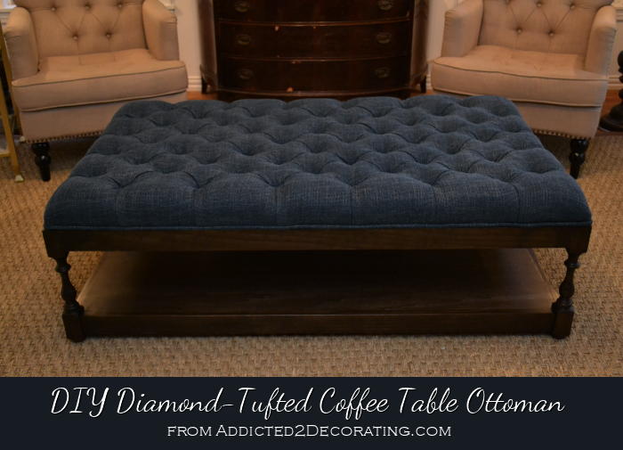 Tufted Fabric Ottoman Coffee Table The Top Features A Grid That Can Also Come With Glass Stone Or Wood (Image 8 of 9)