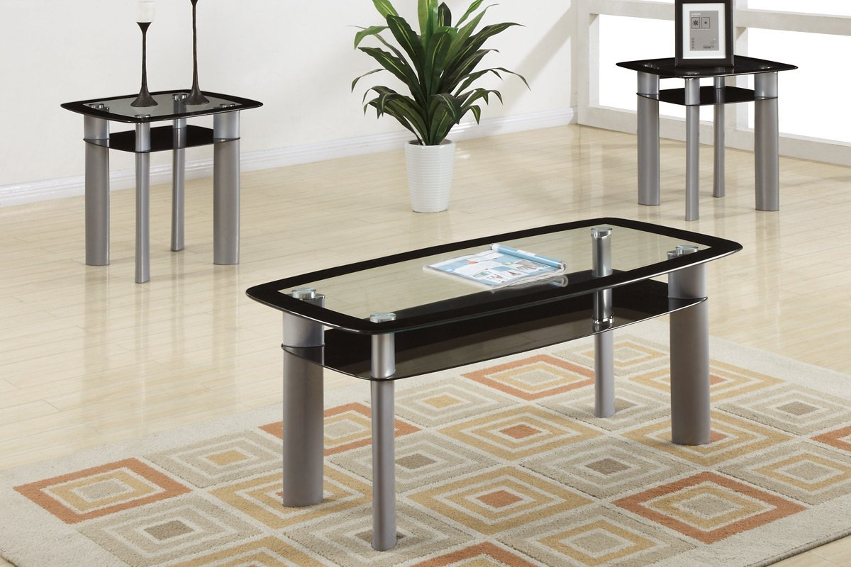 Ultra Modern 3 Piece Coffee Table Set With Glass Table Top And By Poundex (View 8 of 8)