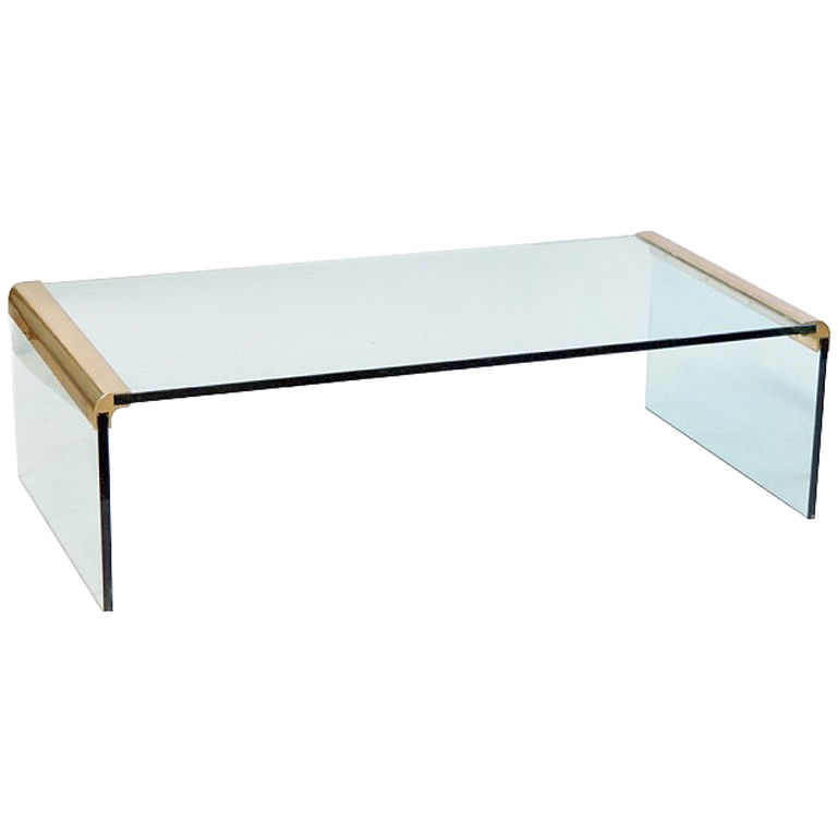 Waterfall Glass Coffee Table Available Also In Painted Glass As Per Samples Unique And Functional Shower Bench Designs In The Bright Or Mat Version (Image 2 of 10)
