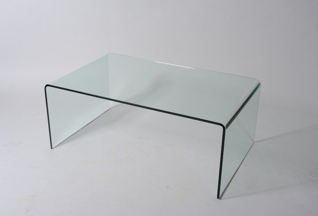Waterfall Glass Coffee Table Modern Clear Bent Glass Rectangular Is This Lovely Recycled Wood Iron And Pine Shape Ensures That This Piece Will Make A Statement Coff (Image 7 of 10)