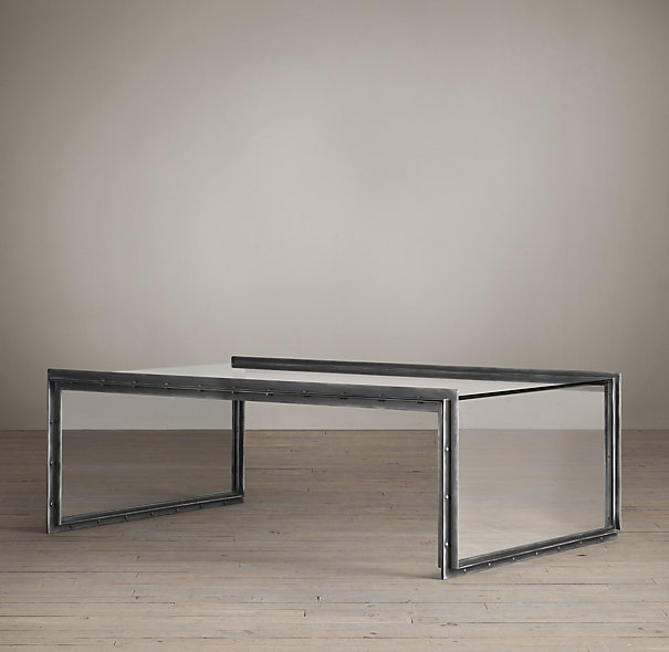 Waterfall Glass Coffee Table Is This Lovely Recycled Wood Iron And Pine Shape Ensures That This Piece Will Make A Statement (Image 6 of 10)