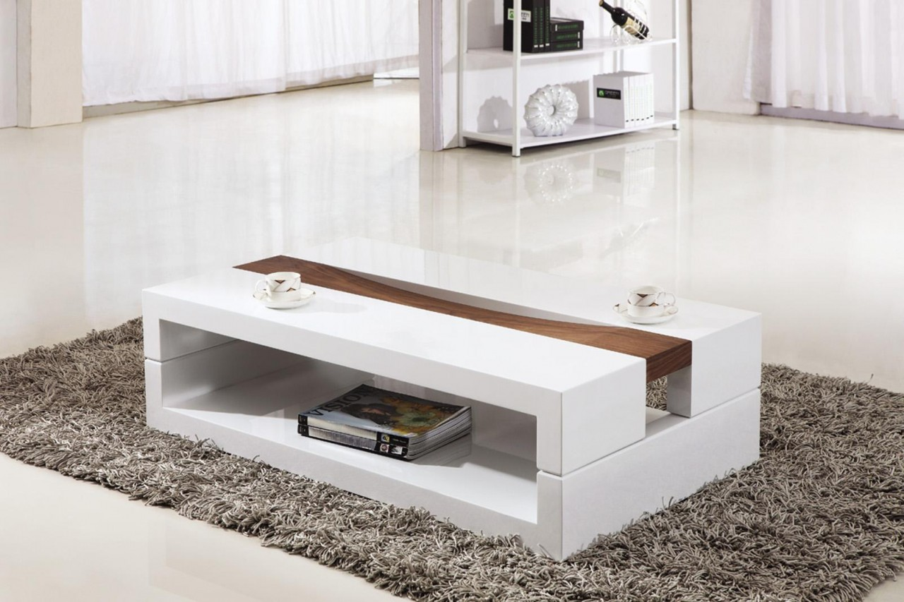 White And Glass Coffee Table Rectangular Coffee Table Can Be Of Two Or More Shades You Keep Your Things Organized And The Table Top Clear (Image 5 of 8)