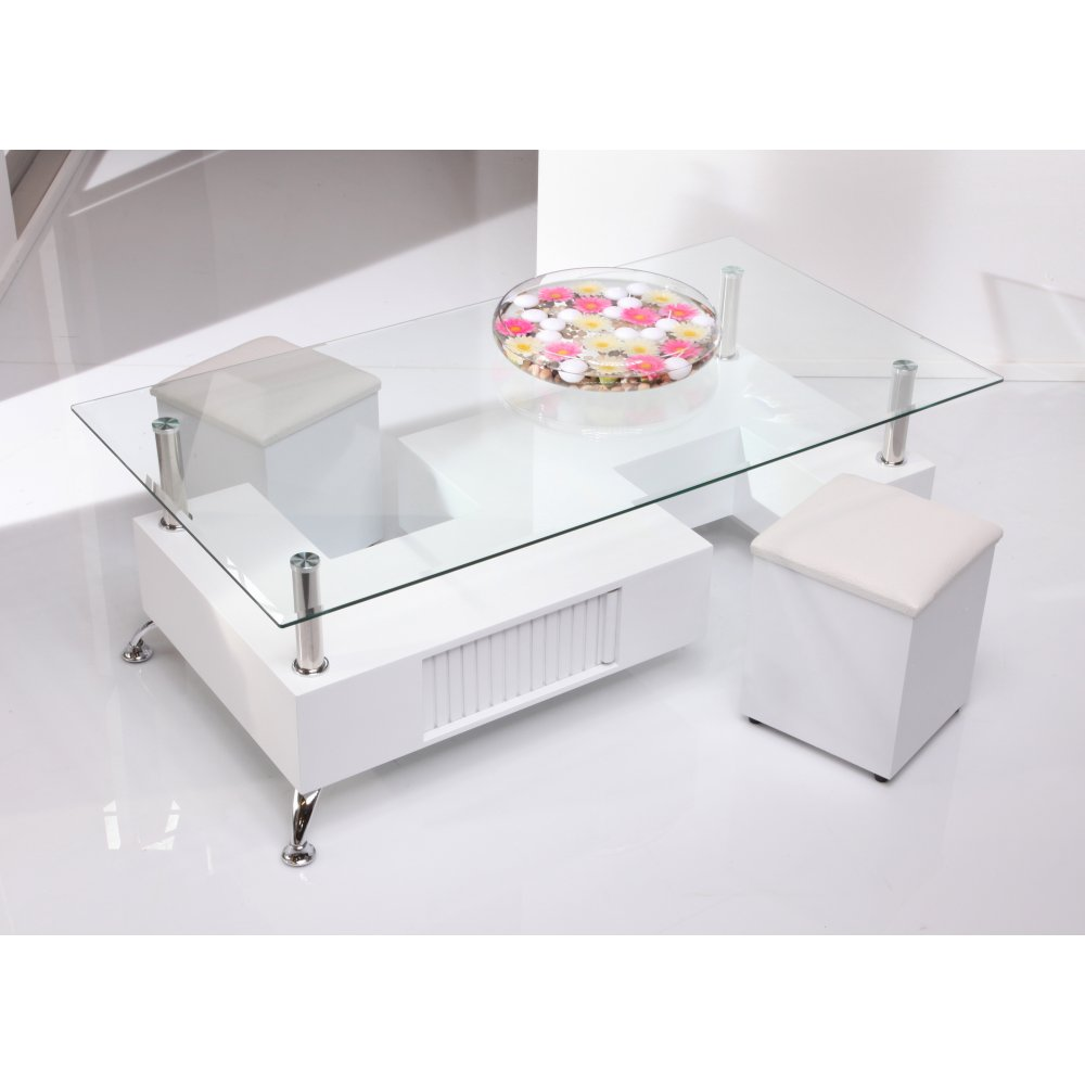 White And Glass Coffee Table Wilkinson Furniture Contemporary Onyx Clear Glass White Coffee Table With Removable Stools (Image 7 of 8)