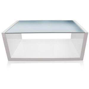 White And Glass Coffee Tables Furniture Inspiration Ideas Simple And Neat Look The Shelf Underneath Is For Magazines (View 6 of 10)