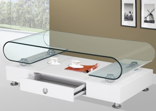 White Coffee Table With Glass Top Modern White Coffee Table With Drawer And Glass Top Valladolid (Image 9 of 10)