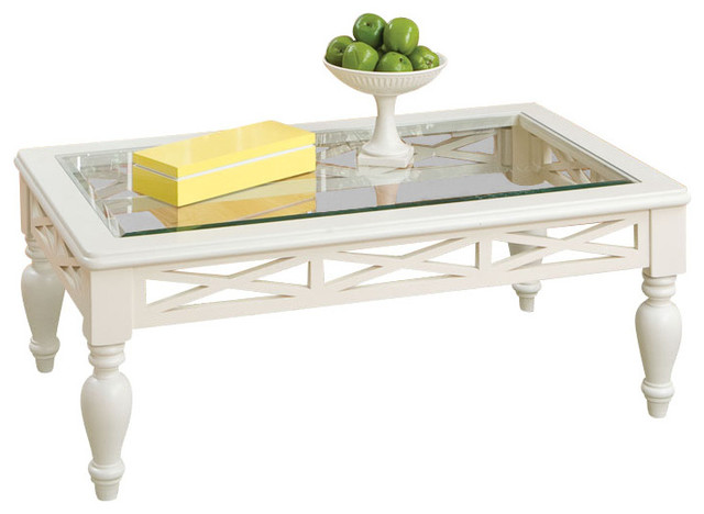 White Coffee Table With Glass Top Standard Furniture Cambria 3 Piece Glass Top Coffee Table Set In White Traditional (Photo 10 of 10)