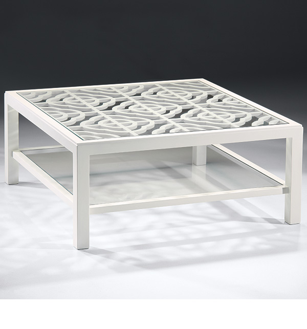 White Coffee Table With Glass Top Lacquered White Coffee Table With Glass Top And Open Work Design (Image 8 of 10)