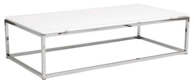 White Glass Coffee Table Clear Rectangle Shape Glass And Stainless Steel Coffee Table Contemporary Modern Designer (View 4 of 9)