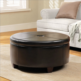 Winston Large Round Button Top Storage Ottoman Black Color Round Shape (Image 9 of 9)